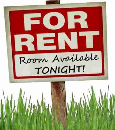 sign saying for rent, room available tonight.