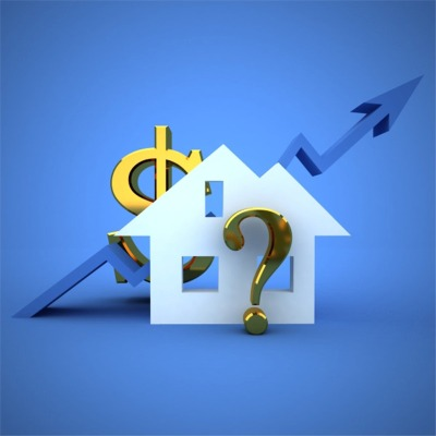 flat image of house with upwards graph, dollar sign and question mark